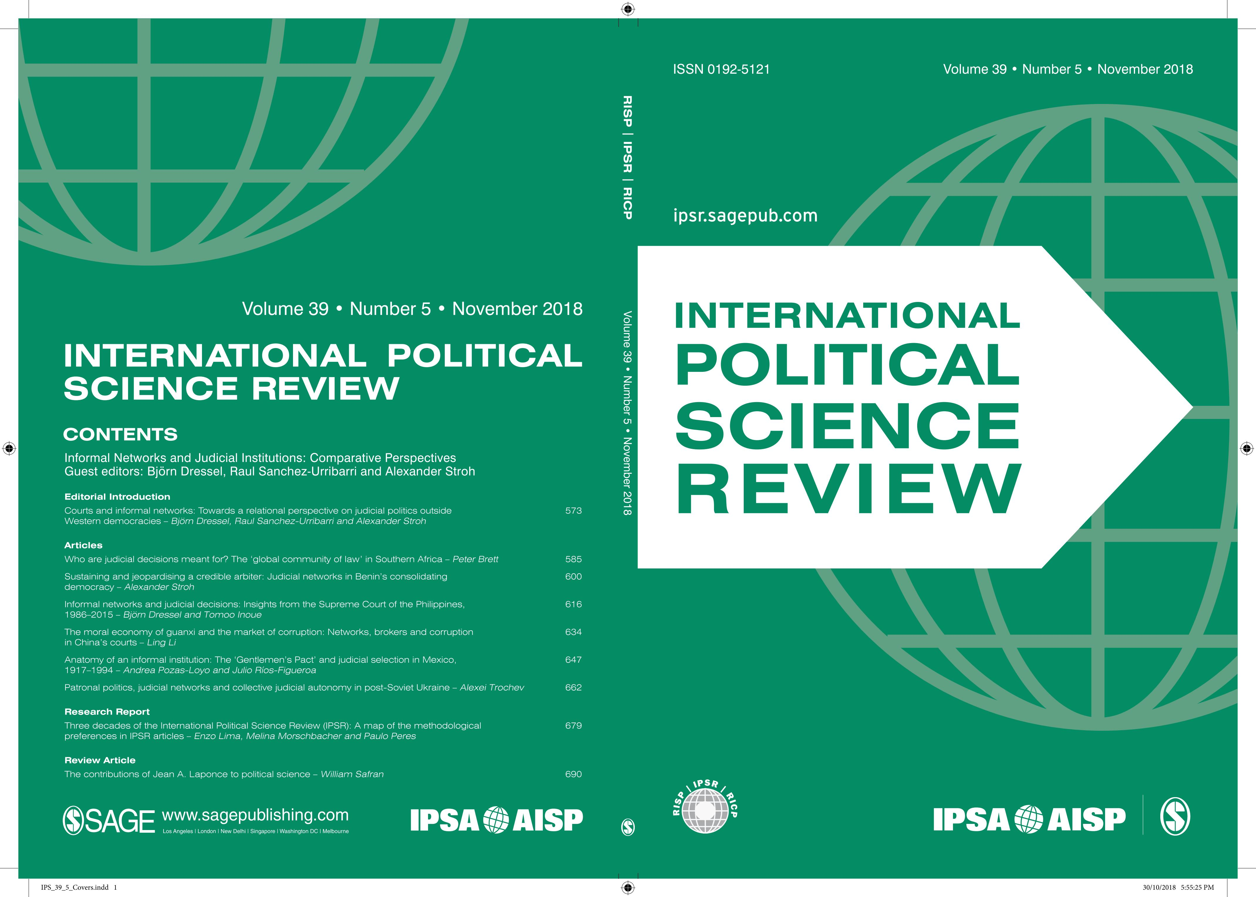 Cover der International Political Science Review (IPSR)